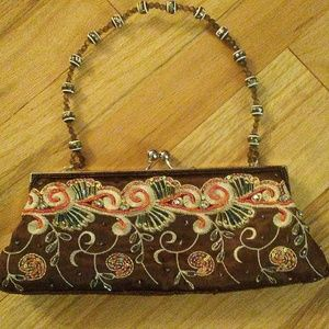 Vintage Inspired Hand Beaded Snap Top Purse